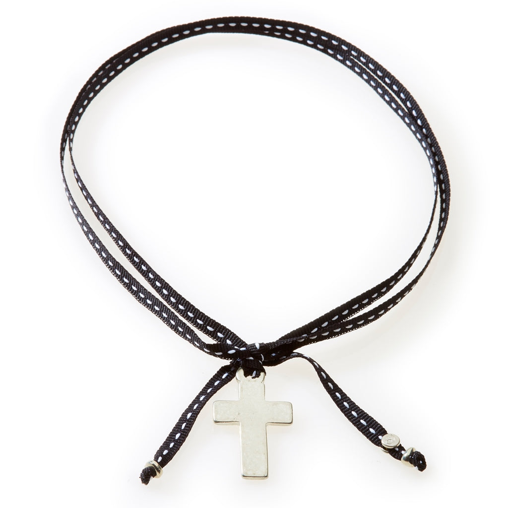 FEISTY Ribbon Necklace & Choker Cross - Black - No Memo