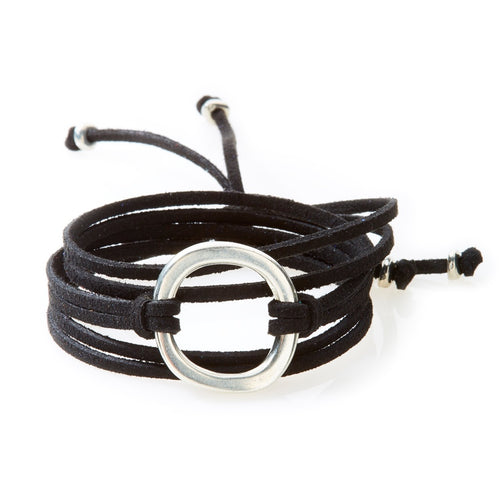 FIERCE Versatile faux suede Bracelet, Necklace & Choker 1 Circle - Black - No Memo