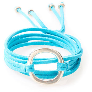 FIERCE Versatile faux suede Bracelet, Necklace & Choker 1 Circle - Turquoise - No Memo