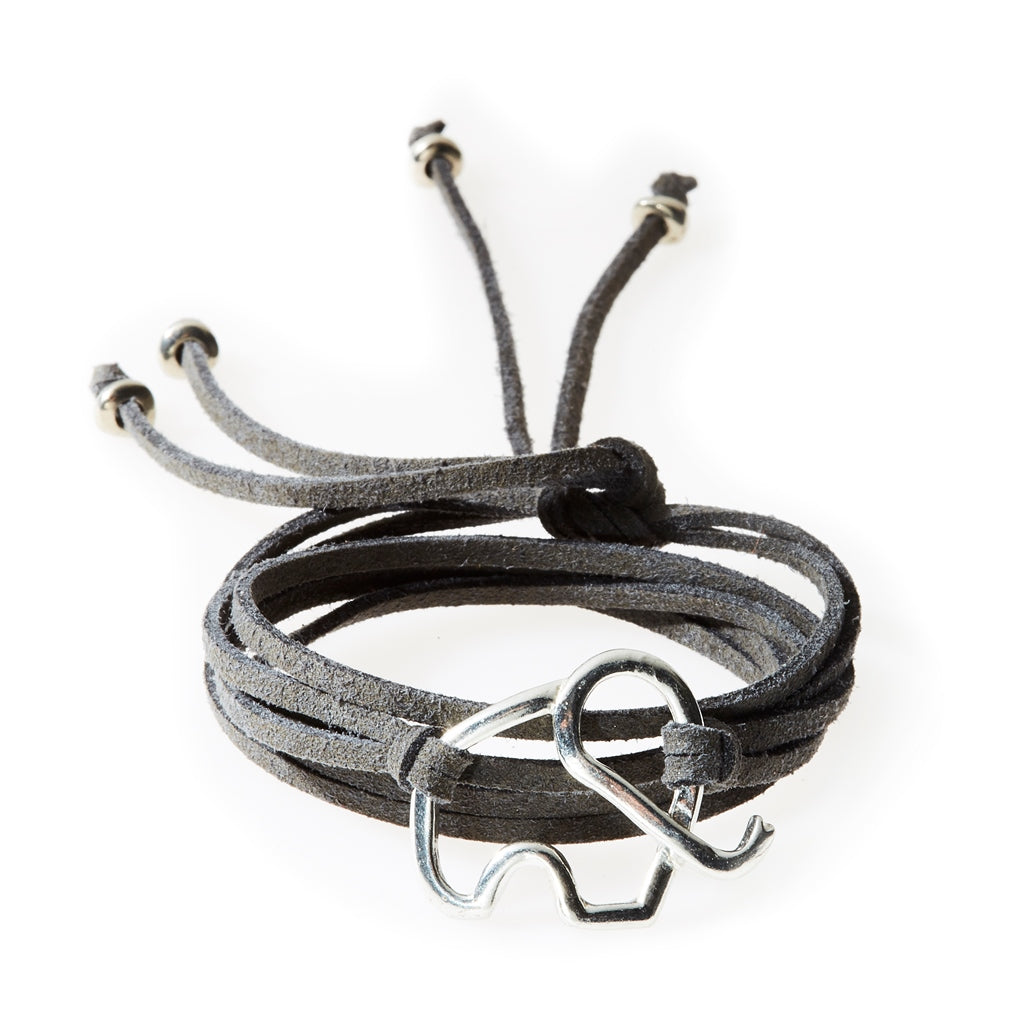 FIERCE Versatile faux suede Bracelet, Necklace & Choker Elephant - Charcoal G - No Memo