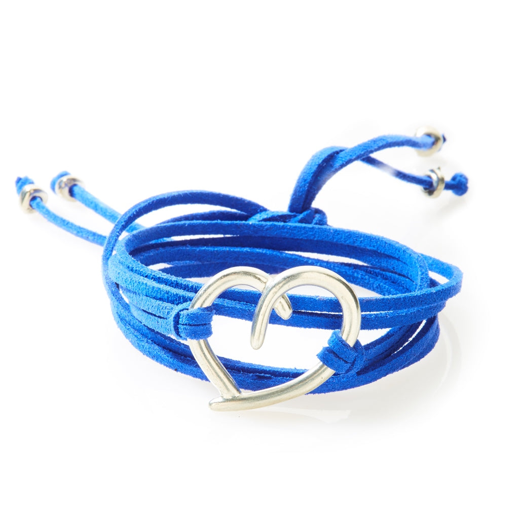 FIERCE Versatile faux suede Bracelet, Necklace & Choker Heart - Royal Blue - No Memo