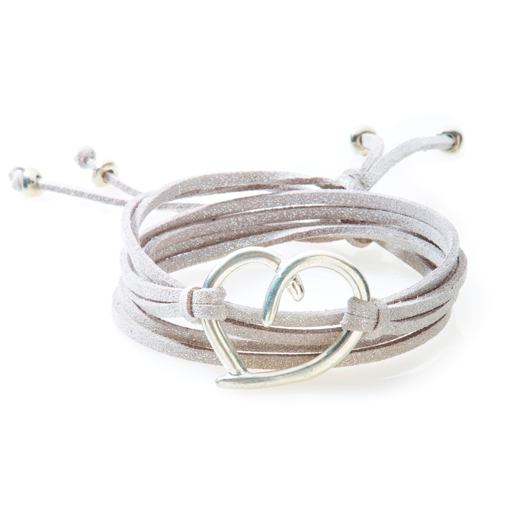 FIERCE Versatile faux suede Bracelet, Necklace & Choker Heart - Silver Shimme - No Memo