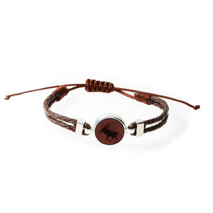 HUNK Braided leather Bracelet Oryx - Dark Brown - No Memo