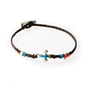 LEGEND Braided Bracelet Cross - Dark Brown - No Memo