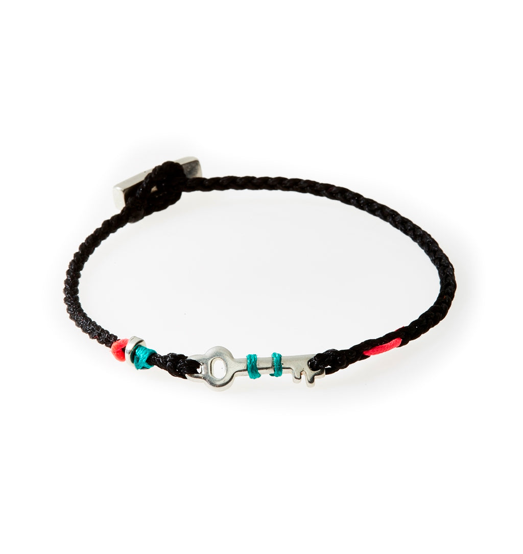 LEGEND Braided Bracelet Key - Black (Teal/Neon pink) - No Memo