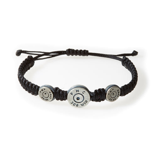 MAVERICK Macrame & leather Bracelet with Bullets Black thread - Grey leather - No Memo