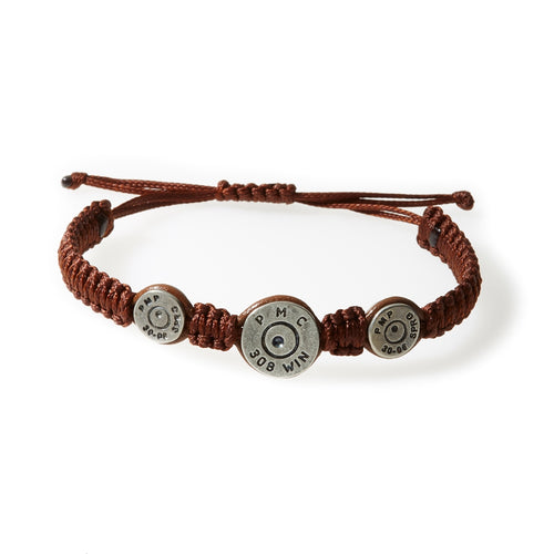 MAVERICK Macrame & leather Bracelet with Bullets Brown thread - Tobacco leather - No Memo