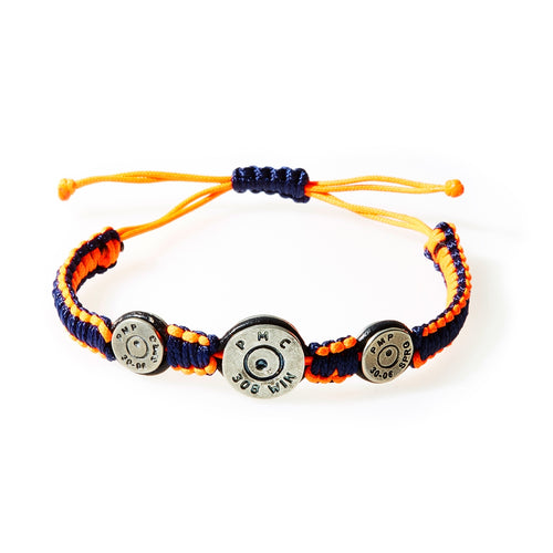 MAVERICK Macrame & leather Bracelet with Bullets Neon Orange/Navy Blue thread - No Memo