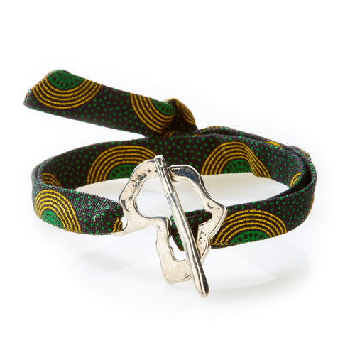 QUIRKY Shweshwe Bracelet Africa - Green - No Memo
