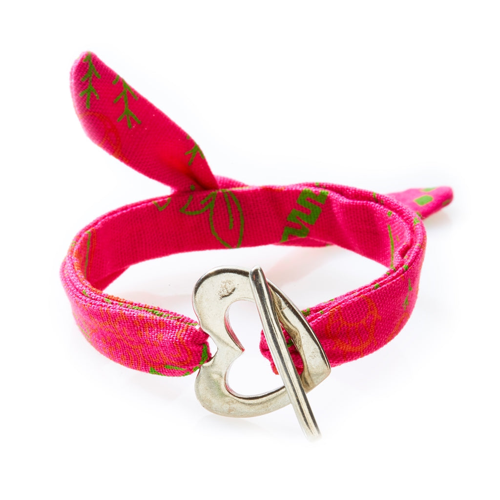 QUIRKY Shweshwe Bracelet Heart - Pink - No Memo