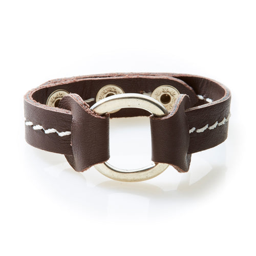 STUD Leather Bracelet with studs Dark Brown - No Memo