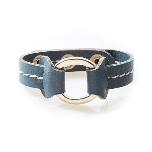 STUD Leather Bracelet with studs Dark Grey - No Memo