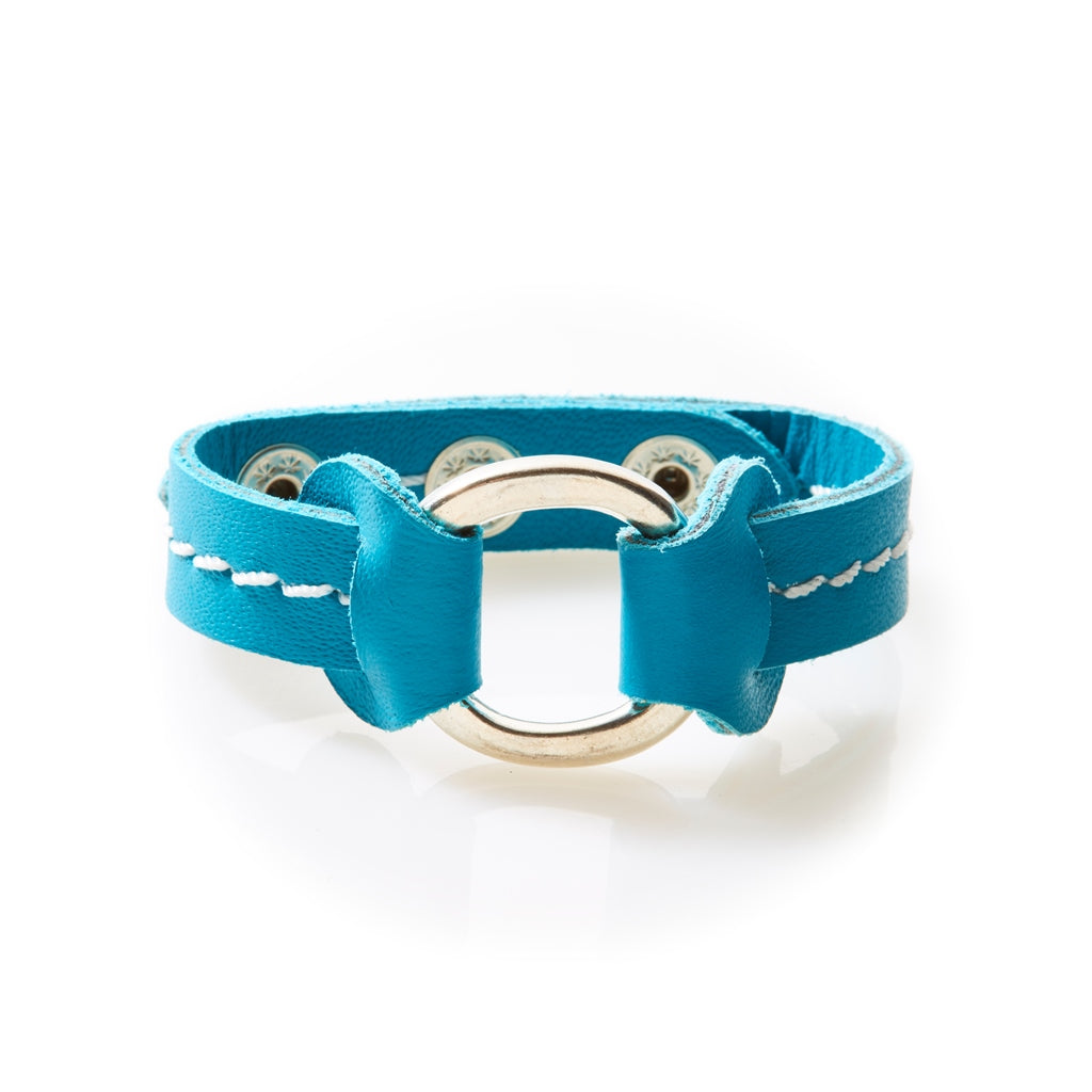 STUD Leather Bracelet with studs Turquoise - No Memo