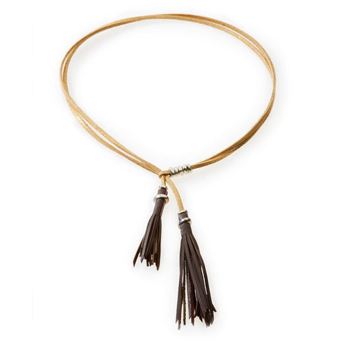 WILD Leather tassel Necklace, Choker & Bracelet Brown and Gold - No Memo