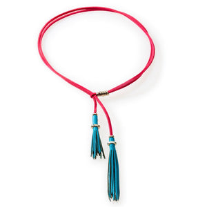 WILD Leather tassel Necklace, Choker & Bracelet Turquoise and Cerise - No Memo