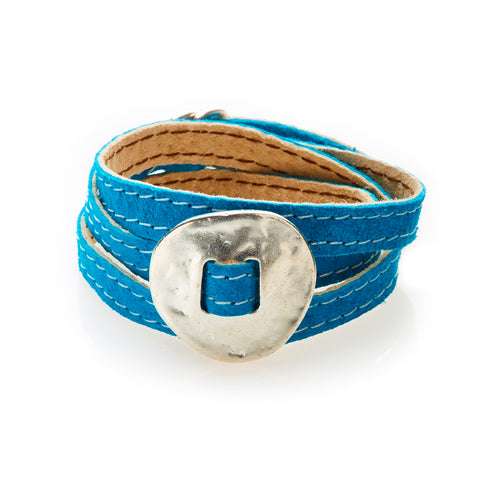 BOLD Reversible suede Bracelet & Choker Plate - Turquoise/Beige - No Memo