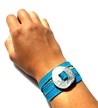 Load image into Gallery viewer, BOLD Reversible suede Bracelet & Choker Cross - Indigo Blue/Coffee - No Memo