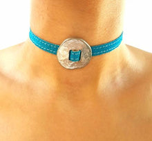 Load image into Gallery viewer, BOLD Reversible suede Bracelet & Choker Plate - Turquoise/Beige - No Memo