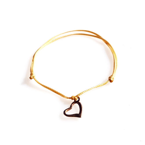DAINTY Single Thread Bracelet Heart - Beige