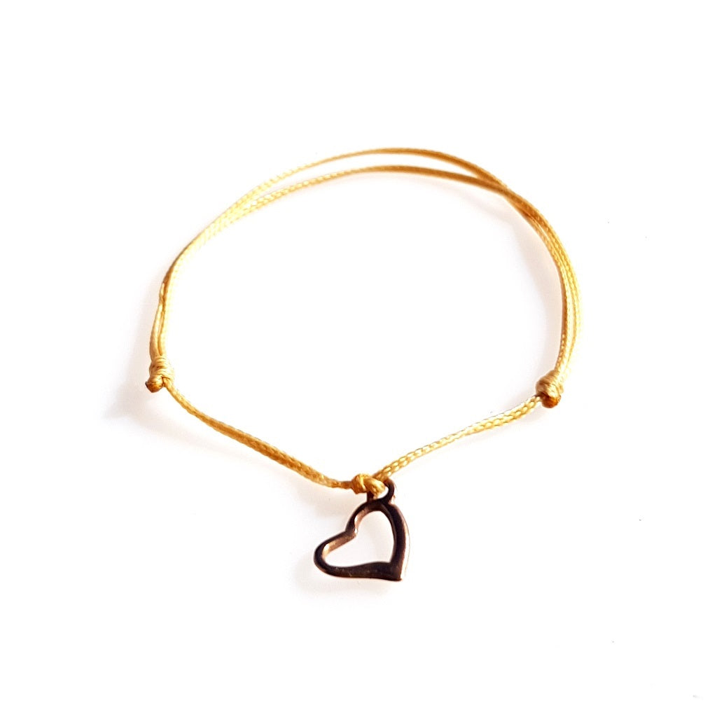 DAINTY Single Thread Bracelet Heart - Beige - No Memo