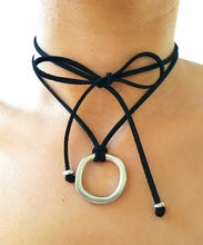 Load image into Gallery viewer, FIERCE Versatile faux suede Bracelet, Necklace & Choker 1 Circle - Black - No Memo