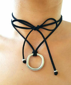 FIERCE Versatile faux suede Bracelet, Necklace & Choker Africa - Black - No Memo