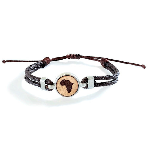HUNK Braided leather Bracelet Africa - Dark Brown - No Memo