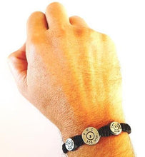 Load image into Gallery viewer, MAVERICK Macrame & leather Bracelet with Bullets Neon Orange/Navy Blue thread - No Memo
