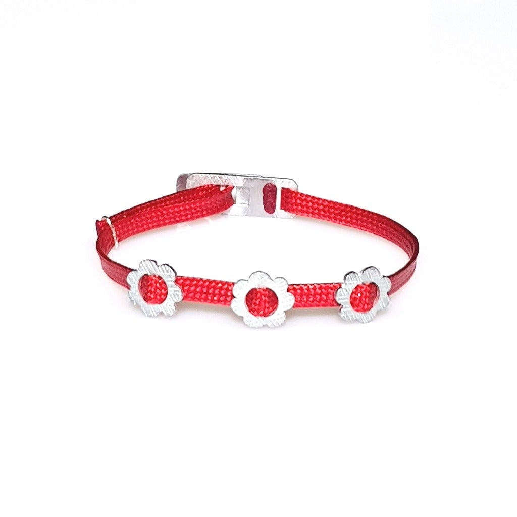 ZESTY Waxed Ribbon Bracelet Flowers - Red - No Memo