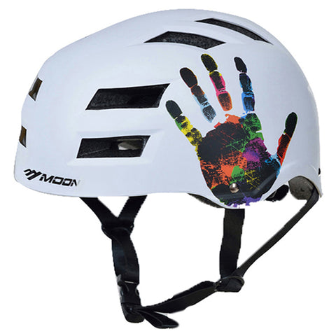 White Electric scooter helmet with hand