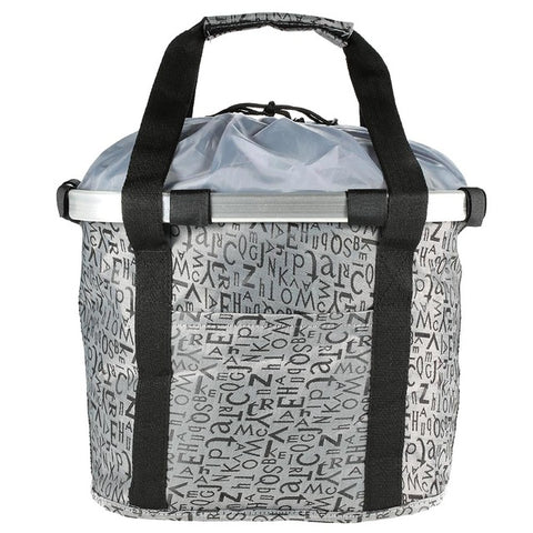 Silver front basket carrier with black stripes