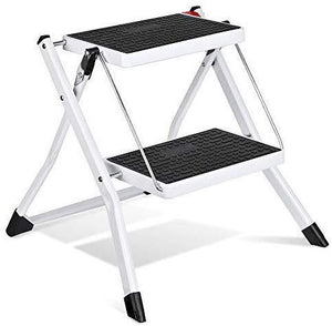 2 Step Stool Stepladders Lightweight White Folding Step Ladder with Handgrip Anti-Slip Sturdy and Wide Pedal Steel Ladder Mini-Stool 250lbs 2-Feet - Better Daily Goods