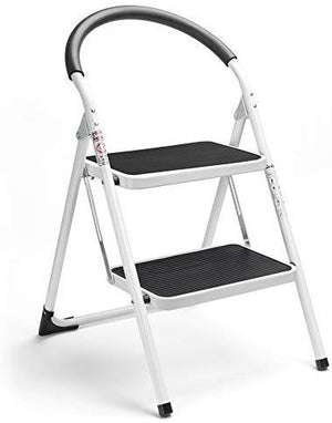 2 Step Stool Folding Step Stool Steel Stepladders with Handgrip Anti-Slip Sturdy and Wide Pedal Steel Ladder 330lbs White and Black Combo 2-Feet (WK2061A-2) (2 Step Stool) - Better Daily Goods