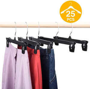 Skirt Hangers 25 Pcs 10inch Black Plastic Pants Hangers with Non-Slip Big Clips and 360 Swivel Hook, Durable Sturdy Plastic, Space-Saving Shape, Elegant for Closet Organizing - Better Daily Goods