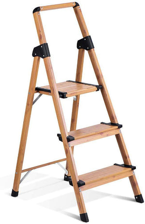 Lightweight Aluminum Woodgrain 3 Step Ladder Folding Step Stool Stepladders Home and Kitchen Step Ladder Anti-Slip Sturdy and Wide Pedal Ladders 330 Lbs Capacity Space Saving (3 feet) - Better Daily Goods