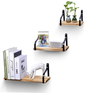 TWING Wall Mount Floating Shelves Set of 3 Rustic Wood Storage Shelvesfor Bedroom, Living Room, Bathroom, Kitchen, Office