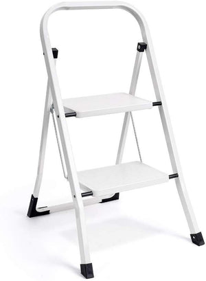 2 Step Ladder Folding Step Stool Ladder with Handgrip Anti-Slip Sturdy and Wide Pedal Multi-Use for Household and Office Portable Step Stool Steel 330lbs White (2 feet) - Better Daily Goods