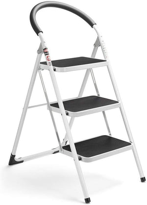 3 Step Ladder Folding Step Stool 3 Step ladders with Handgrip Anti-Slip and Wide Pedal Sturdy Steel Ladder 330lbs White and Black Combo (3 feet) (3 Step Ladder) - Better Daily Goods