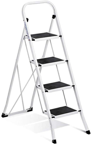 Folding 4 Step Ladder Ladder with Convenient Hand-grip Anti-Slip Sturdy and Wide Pedal 330 Lbs Portable Steel Step Stool White and Black 4-Feet (WK2040-3) - Better Daily Goods