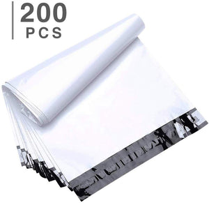 FU Global 200pcs 12x15.5 Inches Poly Mailers Shipping Envelops Boutique Custom Bags Enhanced Durability Multipurpose Envelopes Keep Items Safe Protected(White)