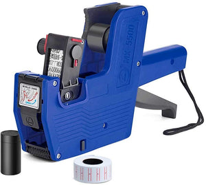 Metronic MX5500 EOS 8 Digits Price Tag Gun Labeler Blue Pricemarker Labels Included Labels and Ink Refill for Office, Retail Shop, Grocery Store,Super Market