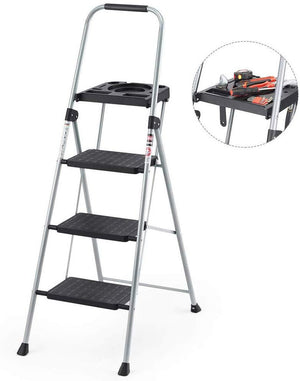 Folding Steel 3-step Stool Ladder Tool Equipment for Indoor, Outdoor with Soft Hand-grip Anti-Slip Widen Pedals Safe Metal Lock Design 330 Lbs Capacity - Better Daily Goods