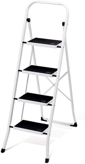 Folding 4 Step Ladder with Convenient Hand-grip Anti-Slip Sturdy and Wide Pedal 330 Lbs Portable Steel Step Stool White and Black 4 Feet - Better Daily Goods