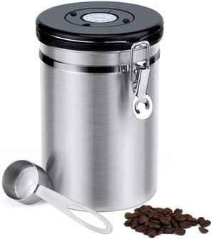 Airtight Coffee Canisters-stainless Steel Coffee Storage Container Vault With Built-in Co2 Gas Vent Valve & Date Tracking Wheel &scoop -large (64 Floz), Holds 1.5 Lbs Whole Beans or 1.2 Lbs Groun - Better Daily Goods