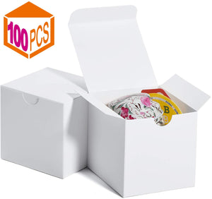 Gift Boxes 3 x 3 x 3 Inches, Paper White Boxes with Lids for Gifts, Crafting, Cupcake Packaging Boxes (White-100 Pcs) - Better Daily Goods