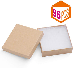 Jewelry Boxes 3.5x3.5x1 Inches Paper Gift Boxes Natural Cardboard Bracelet Boxes with Cotton Filled (Brown-96 Pcs) - Better Daily Goods