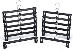 Pants Hanger in Recycled Plastic Skirts Hanger with Hooks and Clips Black 14 and 12 inch Pack of 50 - Better Daily Goods