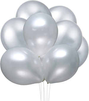 Party Balloons 12 Inches 60 Pack Party Balloons Bulk 3.2 g/pc Made with Strong Latex, for Helium Or Air Use. Birthday Balloon Arch Supplies, Decoration Accessory Metallic Silver - Better Daily Goods