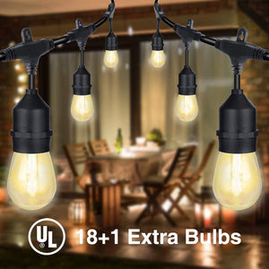LED Outdoor Light String Commercial Heavy Duty Wind and Rainproof, E26 Socket 18 x 1W 19 Edison Light Bulb (1 Spare), Coffee Shop Wedding Party Gazebo Camping Tent Awning Decoration - Better Daily Goods