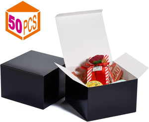 Gift Boxes 6x6x4 in Gift Boxes for Bridesmaids Paper Boxes with Lids for Crafting Cupcake Boxes (Black-50 Pcs) - Better Daily Goods